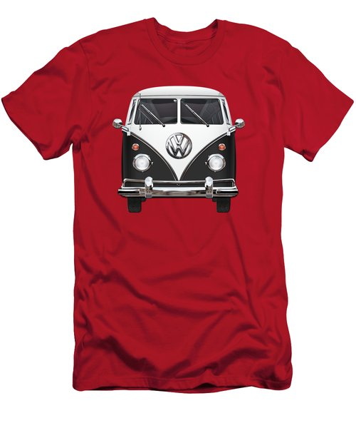 Volkswagen Type 2 - Black And White Volkswagen T 1 Samba Bus On Red  Men's T-Shirt (Slim Fit) by Serge Averbukh