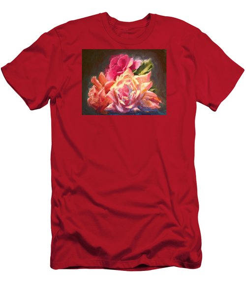 Yellow And Pink Roses Men's T-Shirt (Athletic Fit)