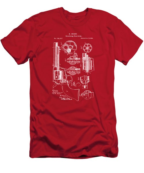 1875 Colt Peacemaker Revolver Patent Red Men's T-Shirt (Athletic Fit)