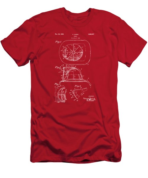 1932 Fireman Helmet Artwork Red Men's T-Shirt (Athletic Fit)