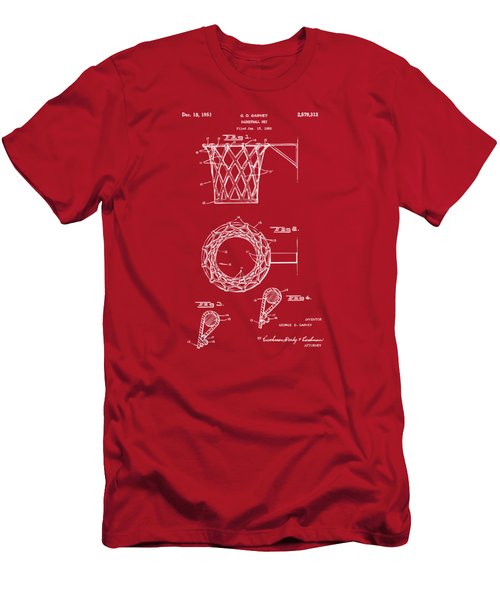 1951 Basketball Net Patent Artwork - Red Men's T-Shirt (Slim Fit) by Nikki Marie Smith