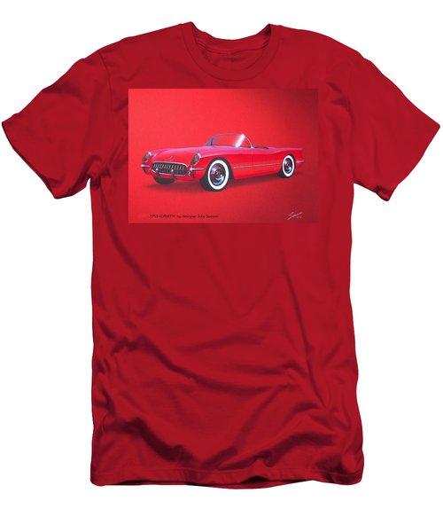 1953 Corvette Classic Vintage Sports Car Automotive Art Men's T-Shirt (Slim Fit) by John Samsen