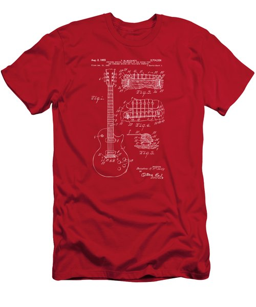 Men's T-Shirt (Slim Fit) featuring the drawing 1955 Mccarty Gibson Les Paul Guitar Patent Artwork Red by Nikki Marie Smith