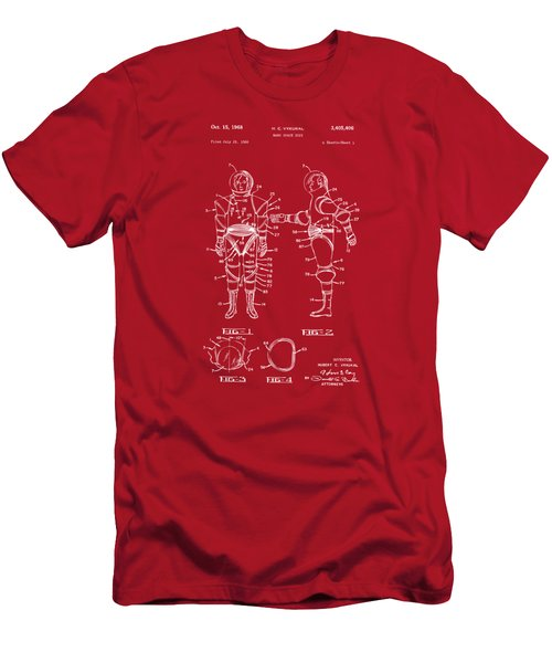 1968 Hard Space Suit Patent Artwork - Red Men's T-Shirt (Slim Fit) by Nikki Marie Smith