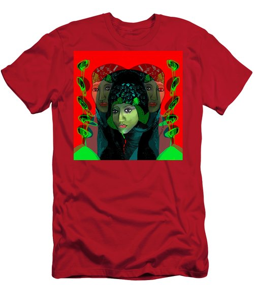 Men's T-Shirt (Slim Fit) featuring the digital art 1975 - Mystery Woman by Irmgard Schoendorf Welch