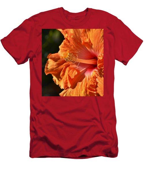 orange Hibiscus blossom Men's T-Shirt (Slim Fit) by Werner Lehmann