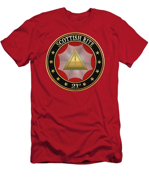 21st Degree - Noachite Or Prussian Knight Jewel On Red Leather Men's T-Shirt (Slim Fit) by Serge Averbukh