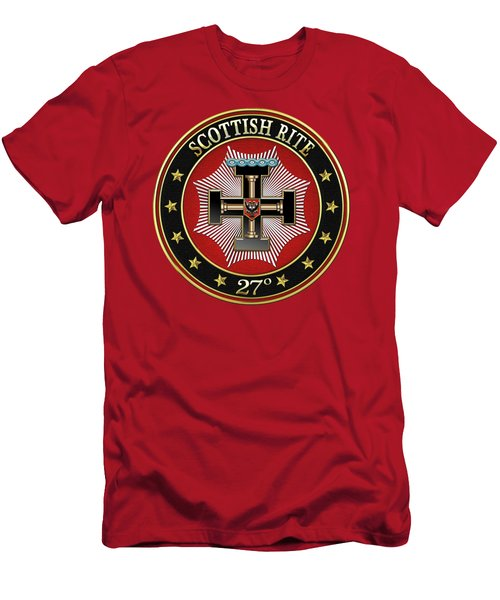 27th Degree - Knight Of The Sun Or Prince Adept Jewel On Red Leather Men's T-Shirt (Athletic Fit)