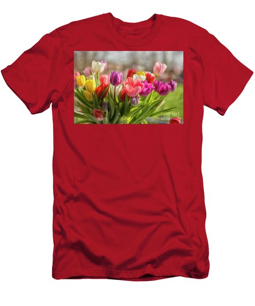Colorful Tulips Men's T-Shirt (Athletic Fit)