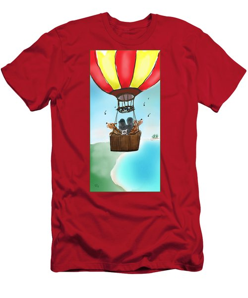 3 Dogs Singing In A Hot Air Balloon Men's T-Shirt (Athletic Fit)