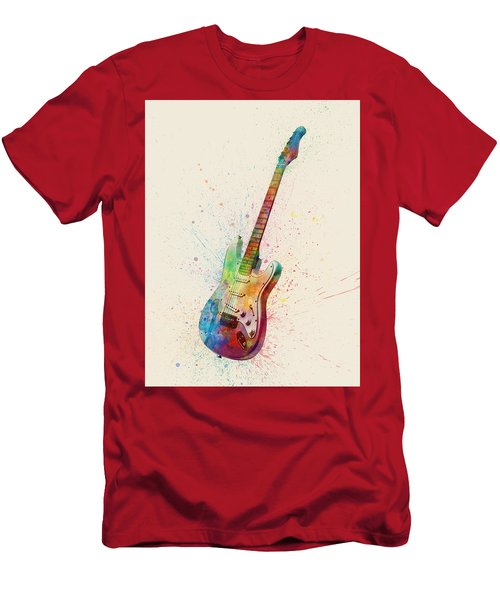 Electric Guitar Abstract Watercolor Men's T-Shirt (Athletic Fit)