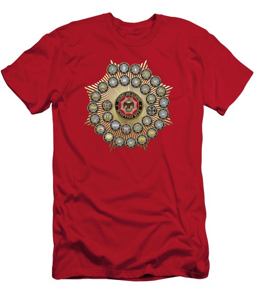 33 Scottish Rite Degrees On Red Leather Men's T-Shirt (Athletic Fit)