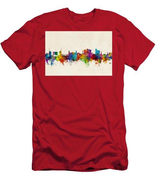 Fayetteville Arkansas Skyline Men's T-Shirt (Slim Fit) by Michael Tompsett