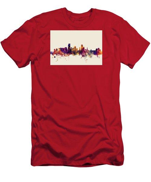 Miami Florida Skyline Men's T-Shirt (Slim Fit) by Michael Tompsett
