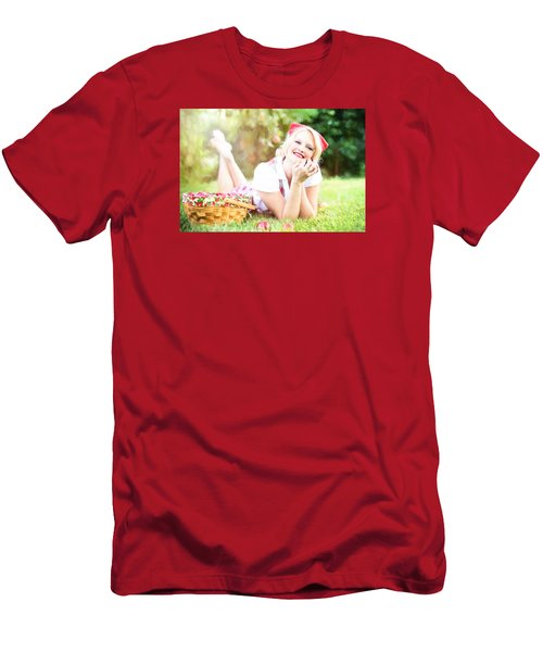 Men's T-Shirt (Athletic Fit) featuring the digital art Vintage Val Apple Picking by Jill Wellington