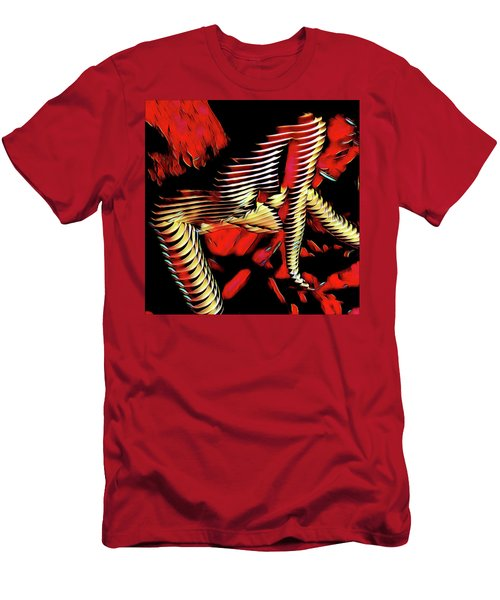 5787s-mak Nude Woman Art Rendered In Red Palette Knife Style Men's T-Shirt (Athletic Fit)