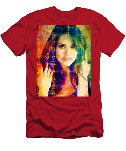 Men's T-Shirt (Slim Fit) featuring the mixed media Nina Dobrev by Svelby Art