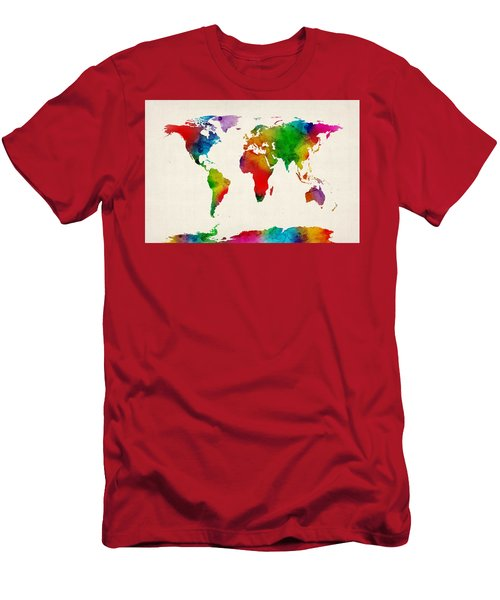 Men's T-Shirt (Slim Fit) featuring the digital art Watercolor Map Of The World Map by Michael Tompsett