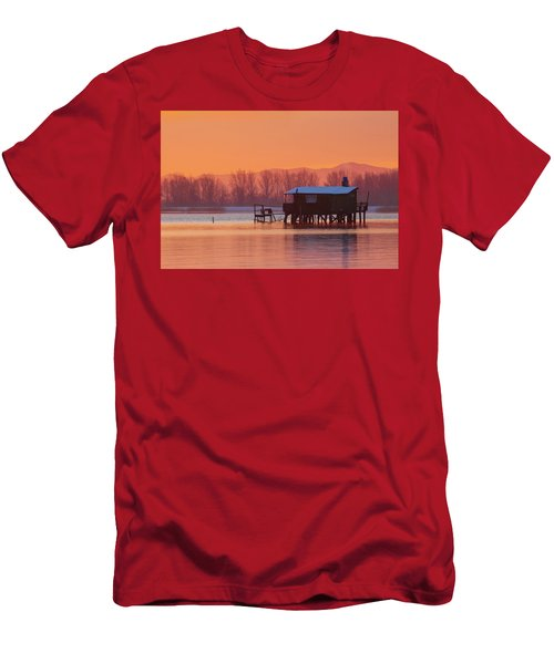Men's T-Shirt (Athletic Fit) featuring the photograph A Hut On The Water by Davor Zerjav