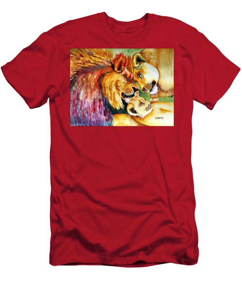 Men's T-Shirt (Slim Fit) featuring the painting A Lion's Pride by Maria Barry
