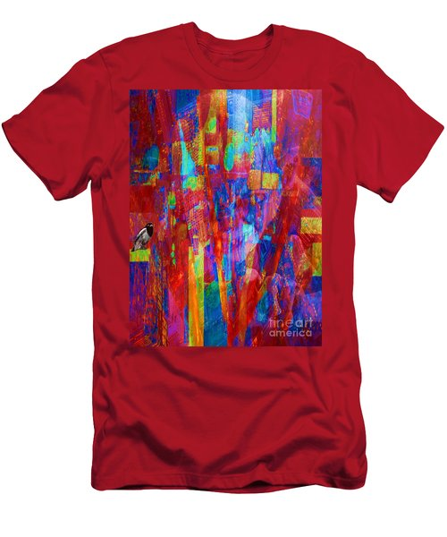 Men's T-Shirt (Slim Fit) featuring the painting A Magpie At Wallstreet by Mojo Mendiola