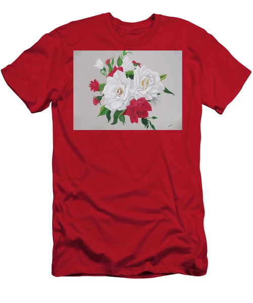 A New Rose Bouquet Men's T-Shirt (Slim Fit) by Hilda and Jose Garrancho