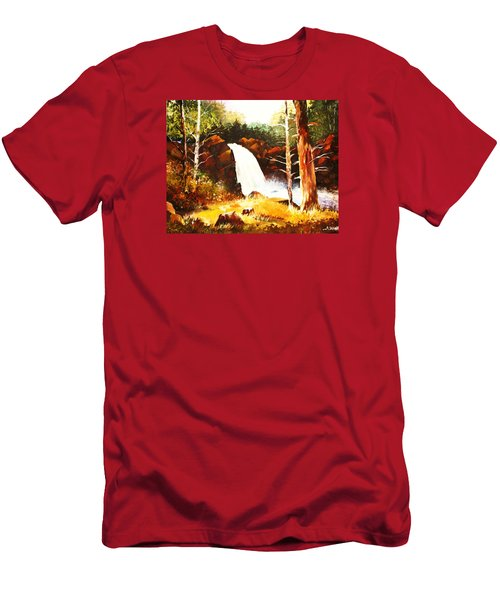 A Spout In The Forest Ll Men's T-Shirt (Slim Fit) by Al Brown