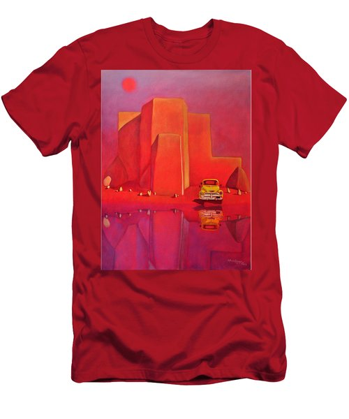 Men's T-Shirt (Slim Fit) featuring the painting A Yellow Truck With A Red Moon In Ranchos by Art West