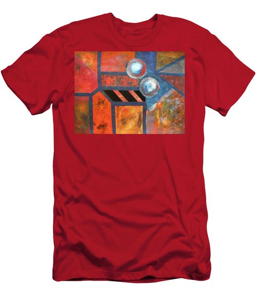 Men's T-Shirt (Slim Fit) featuring the mixed media Abstract Autumn by Riana Van Staden
