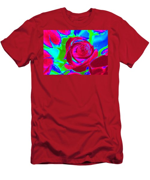 Burgundy Rose Abstract Men's T-Shirt (Athletic Fit)