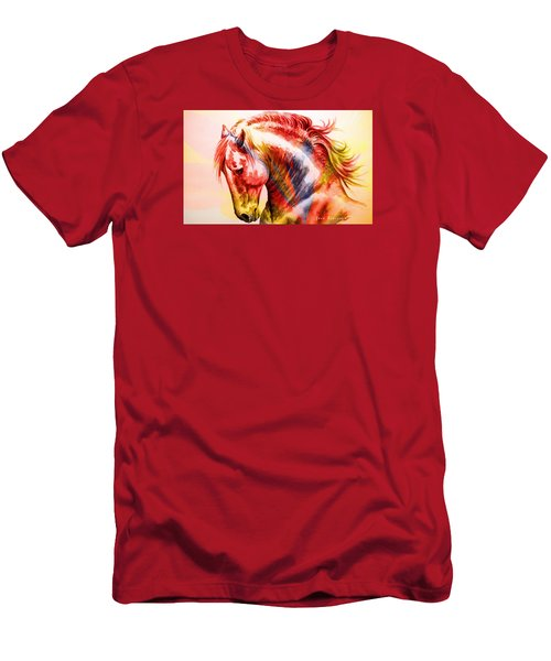 Men's T-Shirt (Slim Fit) featuring the painting Abstract White Horse 46 by J- J- Espinoza