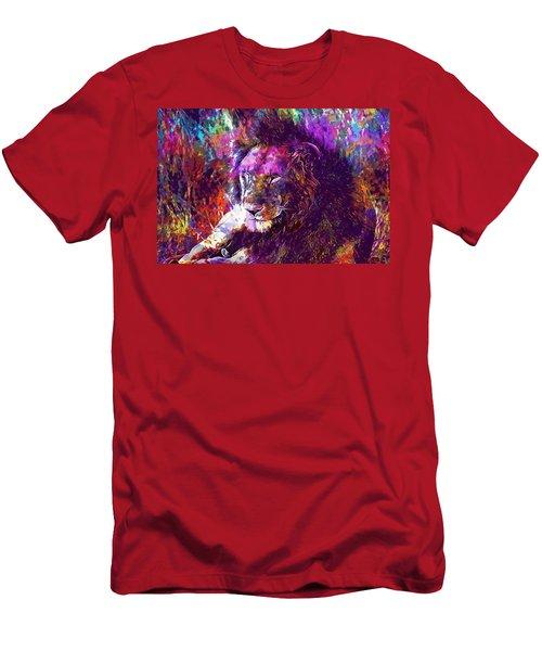 Men's T-Shirt (Athletic Fit) featuring the digital art Africa Safari Tanzania Bush Mammal  by PixBreak Art