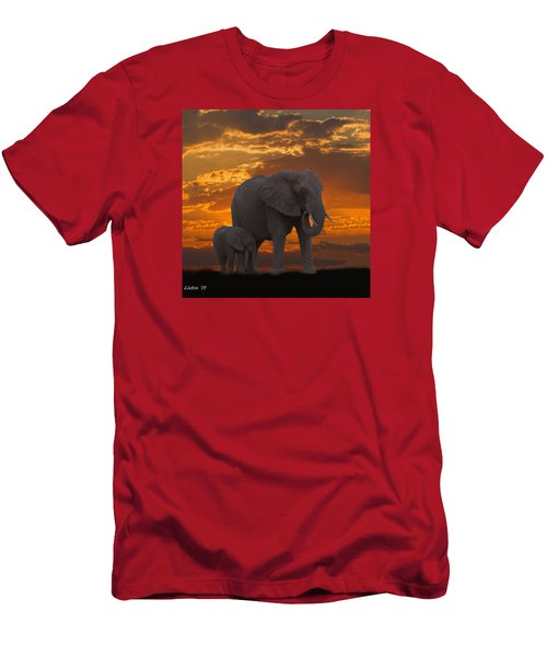 Men's T-Shirt (Athletic Fit) featuring the photograph African Sunset-k by Larry Linton