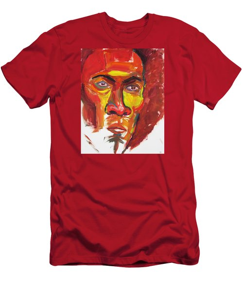 Men's T-Shirt (Slim Fit) featuring the painting Afro by Shungaboy X