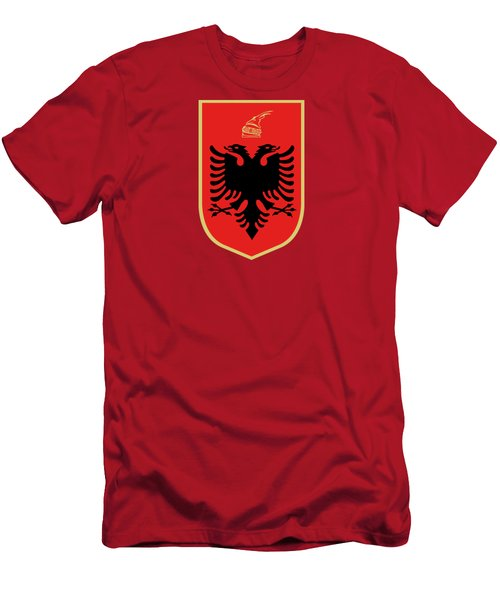 Albania Coat Of Arms Men's T-Shirt (Slim Fit) by Movie Poster Prints