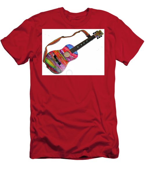 Alcohol Ink Guitar Men's T-Shirt (Slim Fit) by Alene Sirott-Cope
