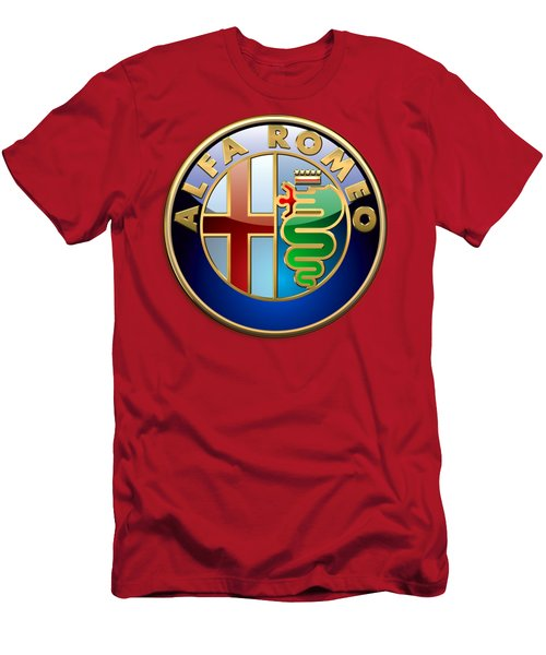 Alfa Romeo - 3d Badge On Red Men's T-Shirt (Athletic Fit)