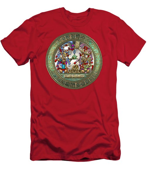 Altar 5 From Tikal - Mayan Nobles Performing A Ritual - On Black And Red Leather  Men's T-Shirt (Athletic Fit)