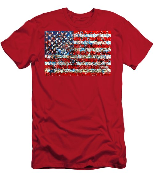 Men's T-Shirt (Slim Fit) featuring the painting American Flag Abstract With Trees by Genevieve Esson