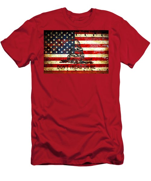 American Flag And Viper On Rusted Metal Door - Don't Tread On Me Men's T-Shirt (Slim Fit) by M L C