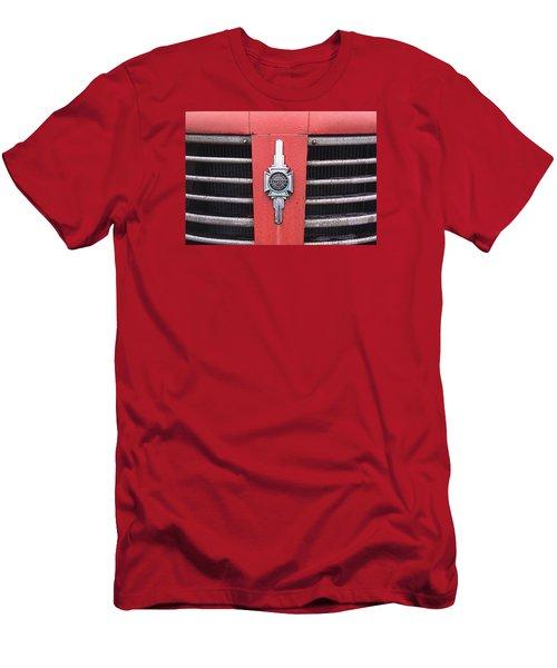 Men's T-Shirt (Slim Fit) featuring the photograph American Foamite Firetruck Emblem by Susan Crossman Buscho