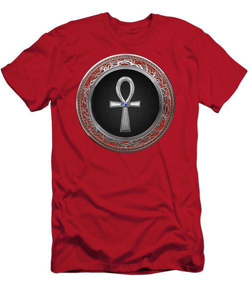 Ancient Egyptian Ankh - Sacred Silver Cross Over Red Leather Men's T-Shirt (Athletic Fit)