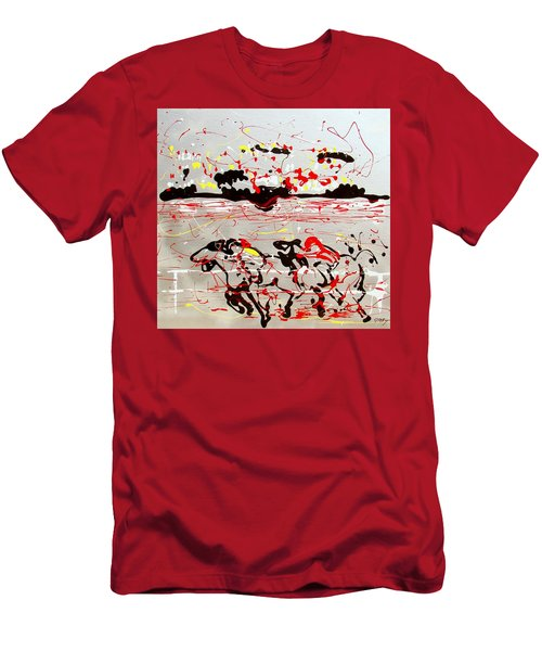 Men's T-Shirt (Slim Fit) featuring the mixed media And Down The Stretch They Come by J R Seymour