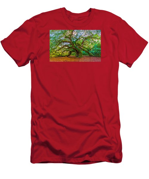 Angel Oak Tree Charleston Sc Men's T-Shirt (Slim Fit) by John McGraw