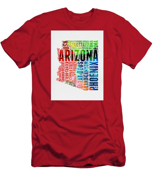 Arizona Watercolor Word Cloud Map  Men's T-Shirt (Slim Fit) by Naxart Studio