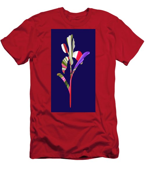 Artsy Flower With Blue Background Men's T-Shirt (Athletic Fit)