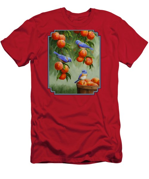 Bird Painting - Bluebirds And Peaches Men's T-Shirt (Athletic Fit)