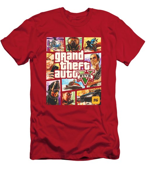 Gta V Box Art Cover Colored Drawing Men's T-Shirt (Slim Fit) by Nikolai Jonasson