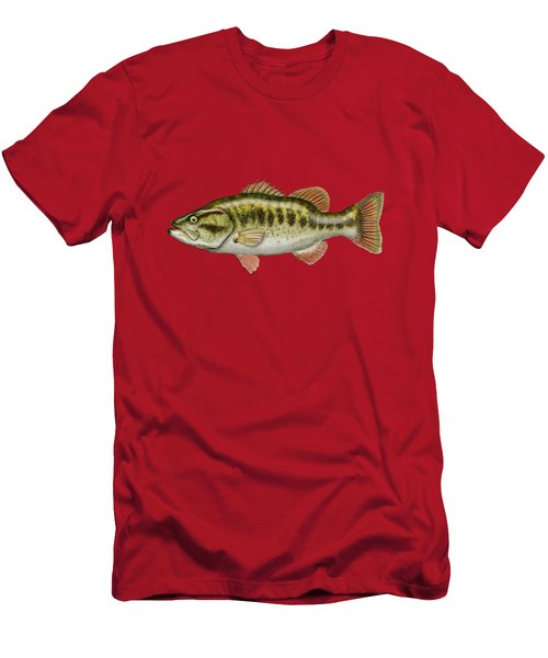 Largemouth Bass On Red Leather Men's T-Shirt (Slim Fit) by Serge Averbukh