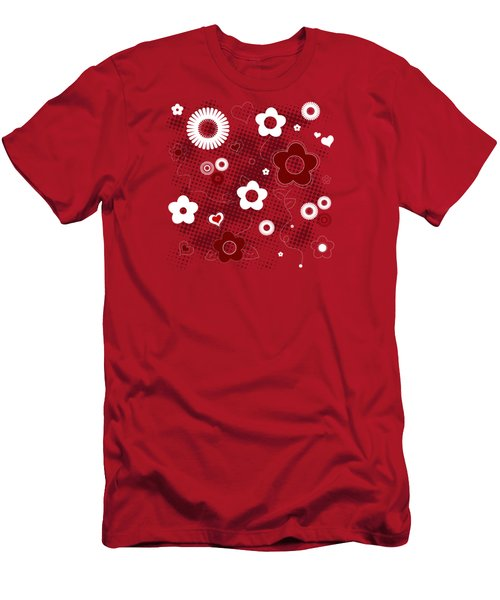 Floral And Hearts Valentine Pattern Men's T-Shirt (Slim Fit) by Serena King